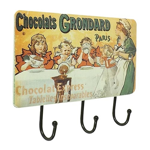 Gancheira Porta Chaves Chocolats 3 Ganchos Oldway - 14x10 cm