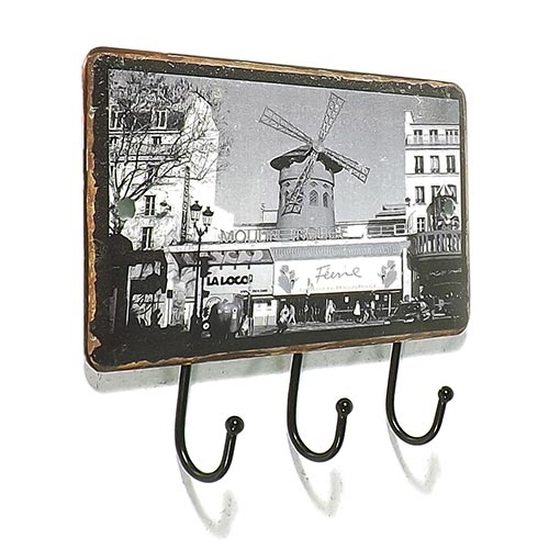 Gancheira Porta Chaves Rouge 3 Ganchos Oldway - 14x10 cm