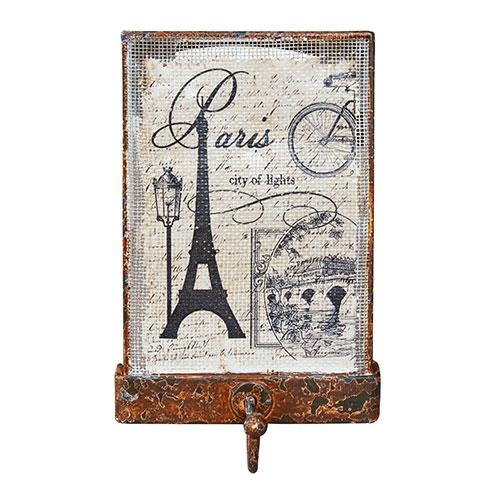 Gancho Simples Tela Rústico Torre Eiffel Oldway - 15x10cm