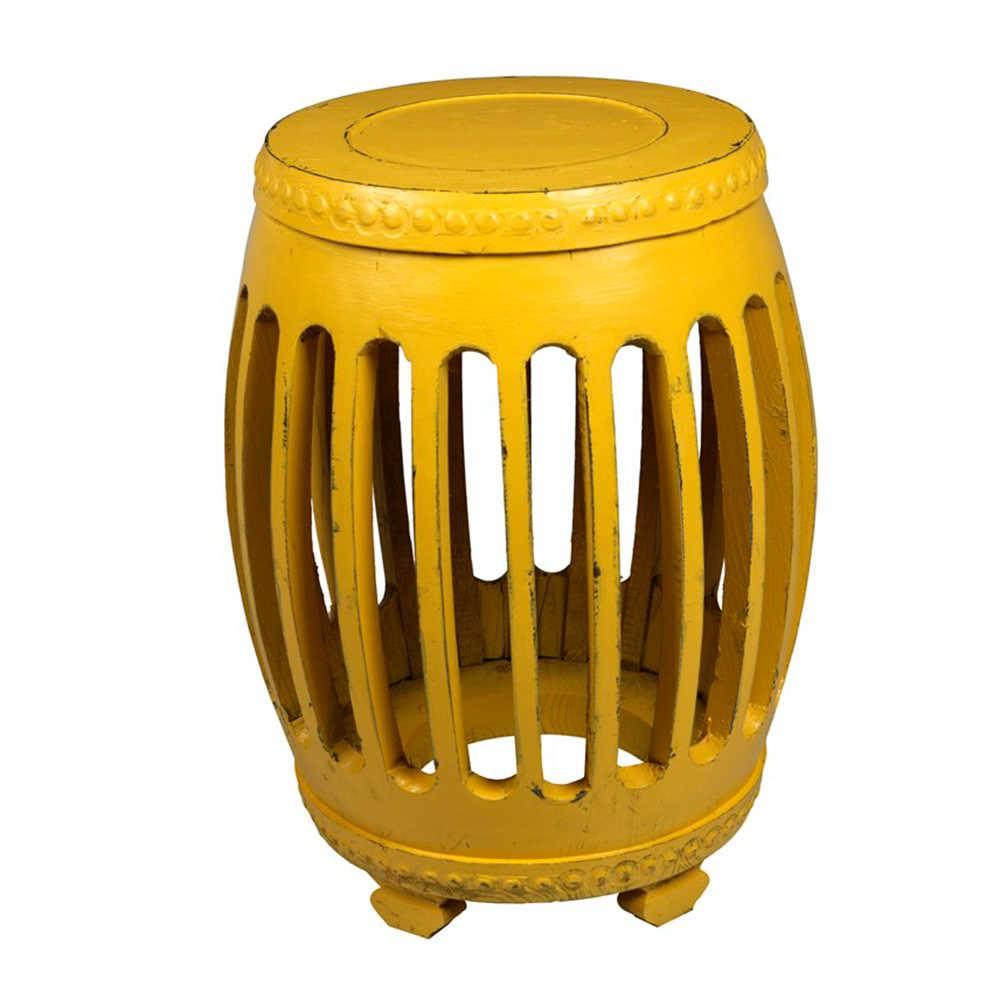 Garden Seat Amarelo Envelhecido em Madeira com Acabamento Vazado - 54x41 cm
