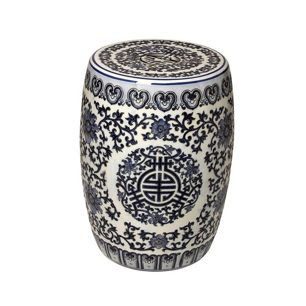 Garden Seat Arabesque Azul e Branco em Porcelana - 45x30 cm