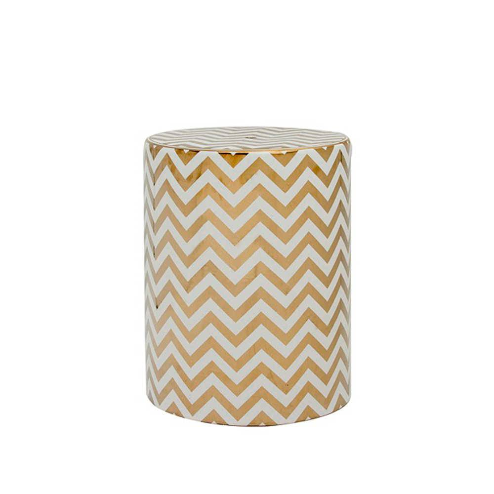 Garden Seat Chevron Bege e Branco em Porcelana - 43x33 cm
