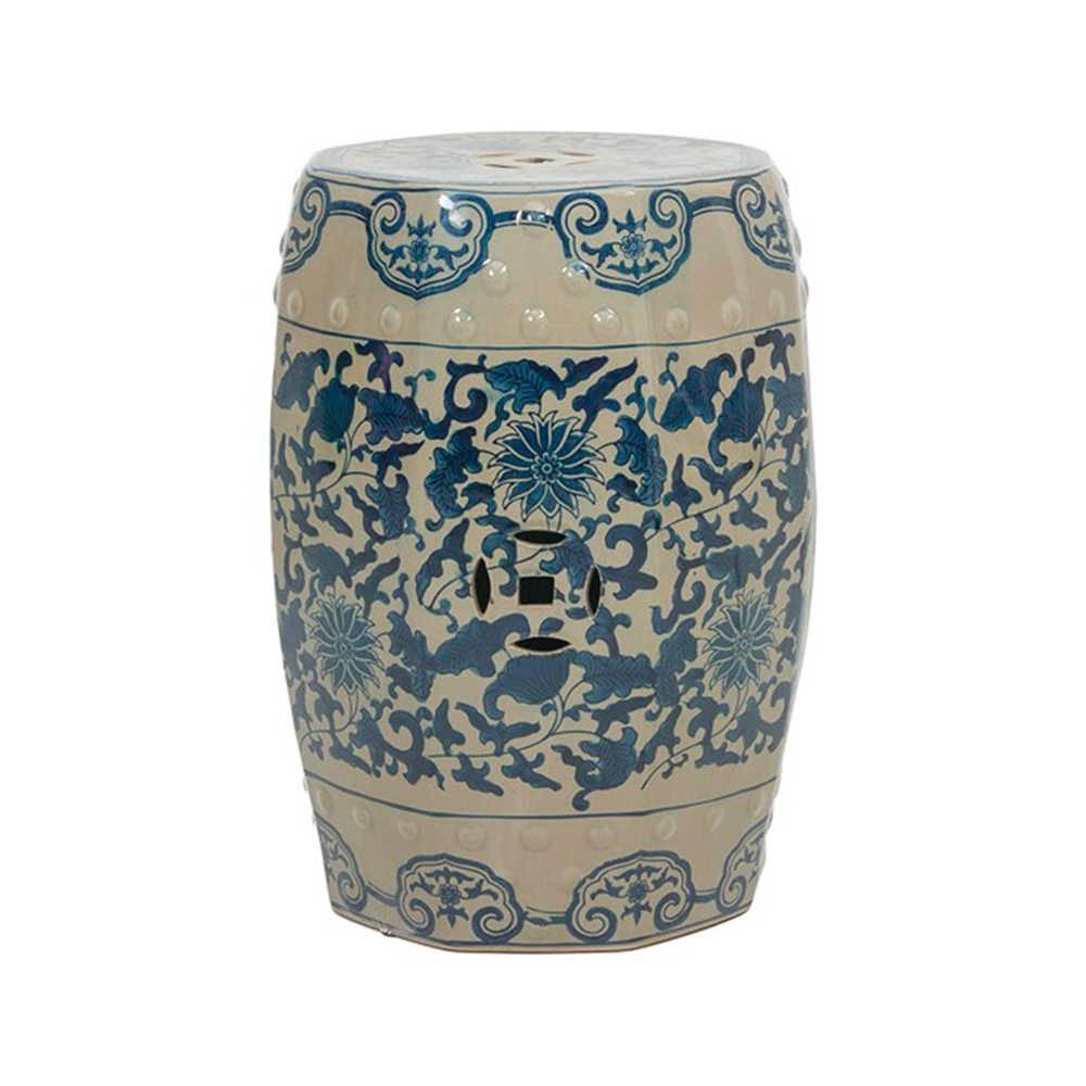 Garden Seat Classic Branco e Azul em Porcelana - 43x32 cm