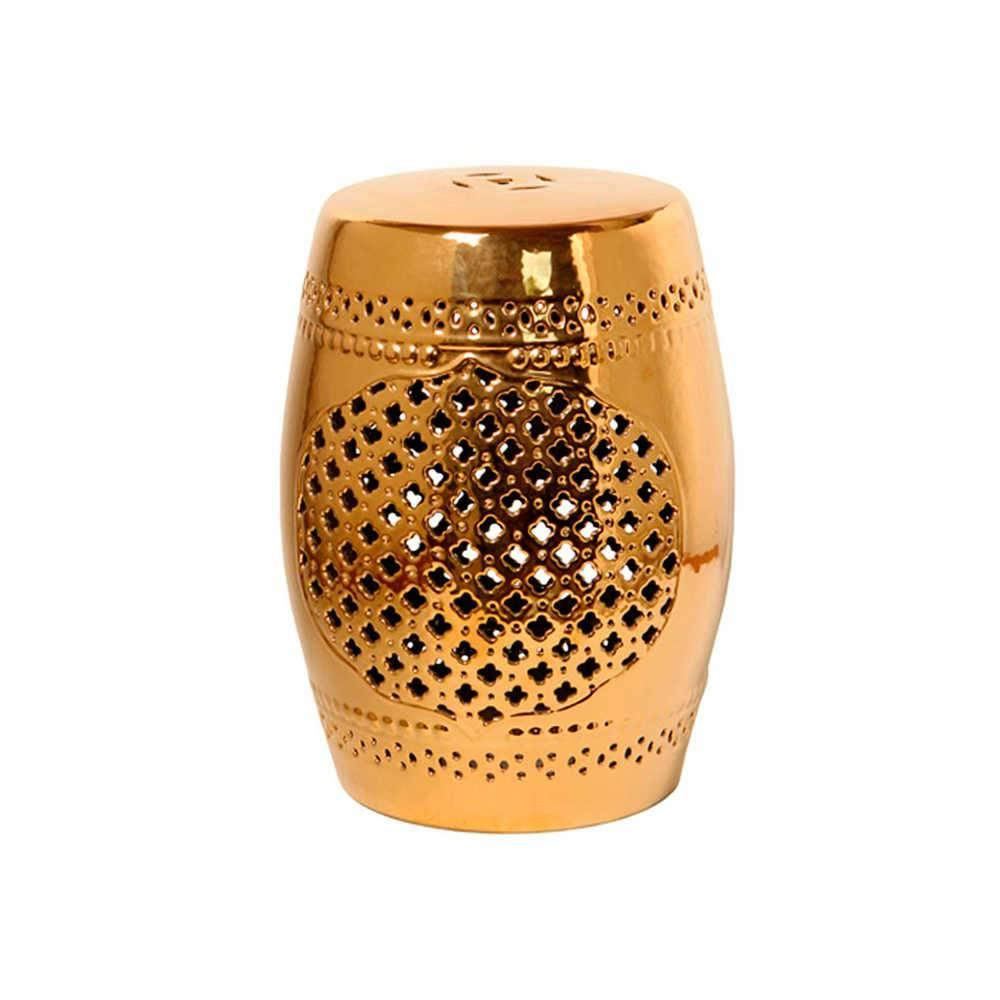 Garden Seat Dourado em Porcelana com Acabamento Vazado - 45x33 cm