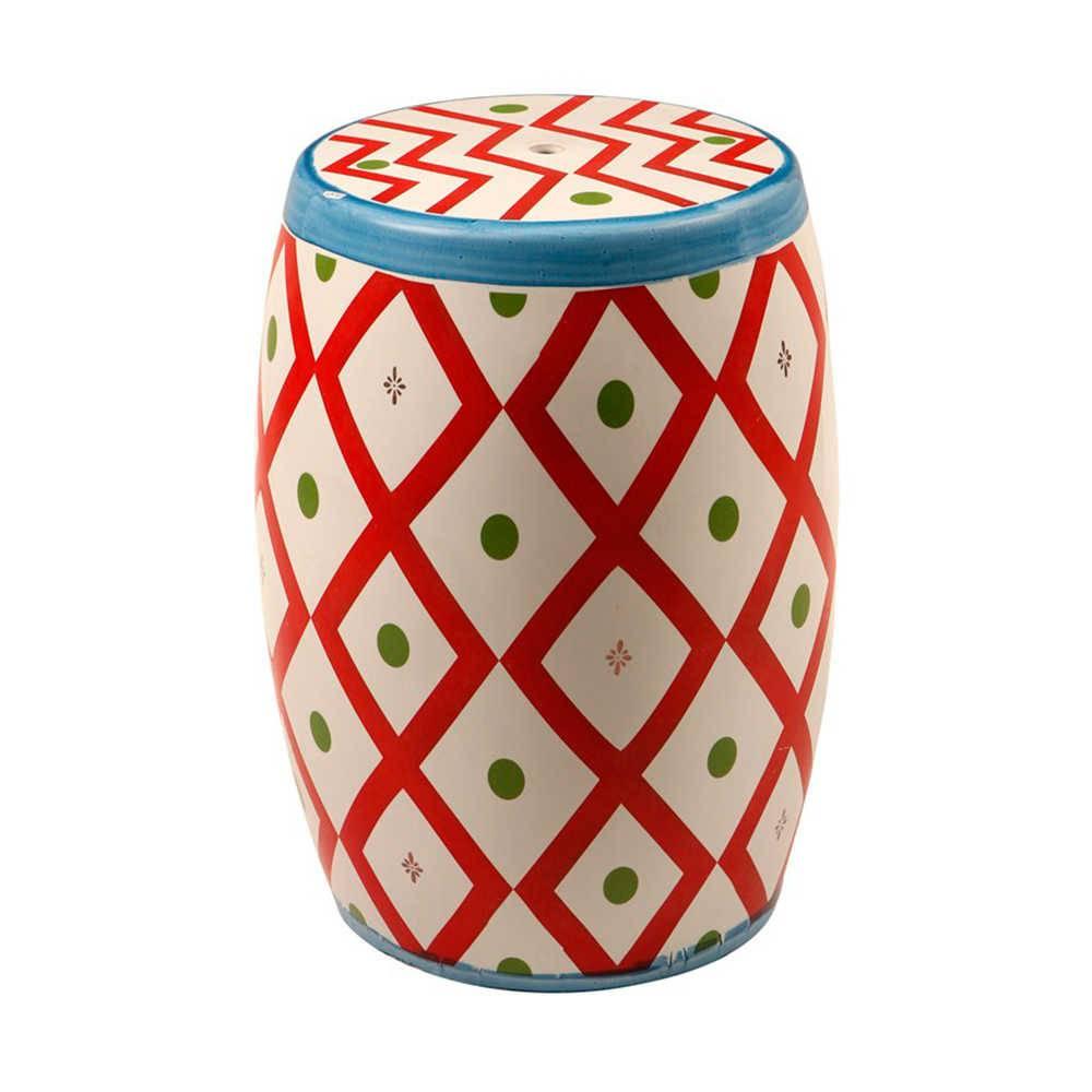 Garden Seat Drum Branco e Vermelho em Porcelana - 45x33 cm