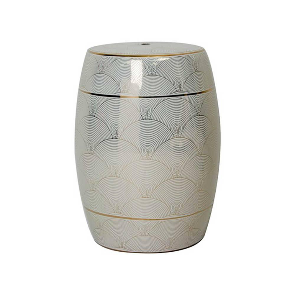 Garden Seat Elegance Preto e Branco em Porcelana - 46x35 cm