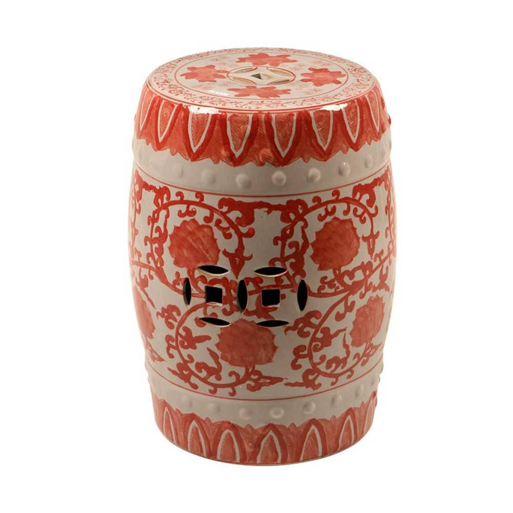 Garden Seat Giardino Branco e Vermelho em Porcelana - 45x33 cm
