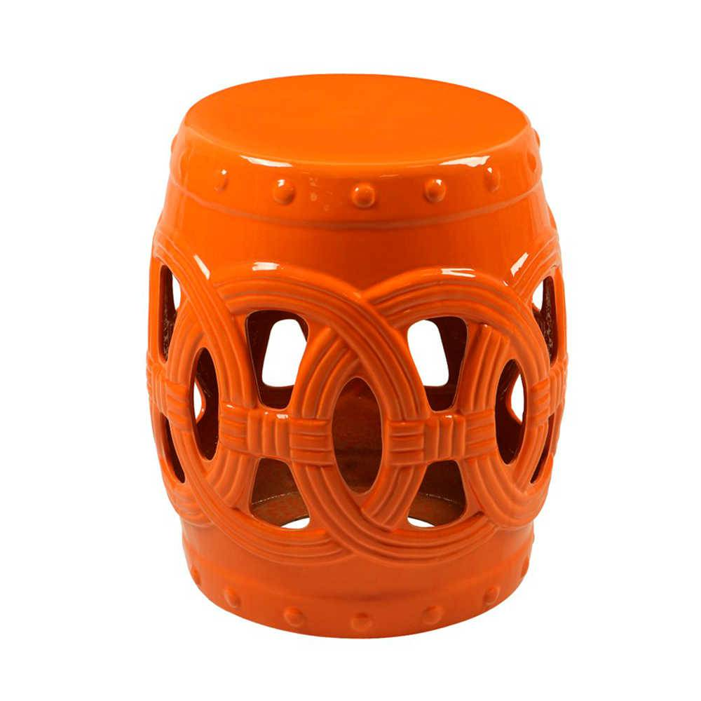 Garden Seat Laranja em Porcelana com Acabamento Vazado - 45x40 cm