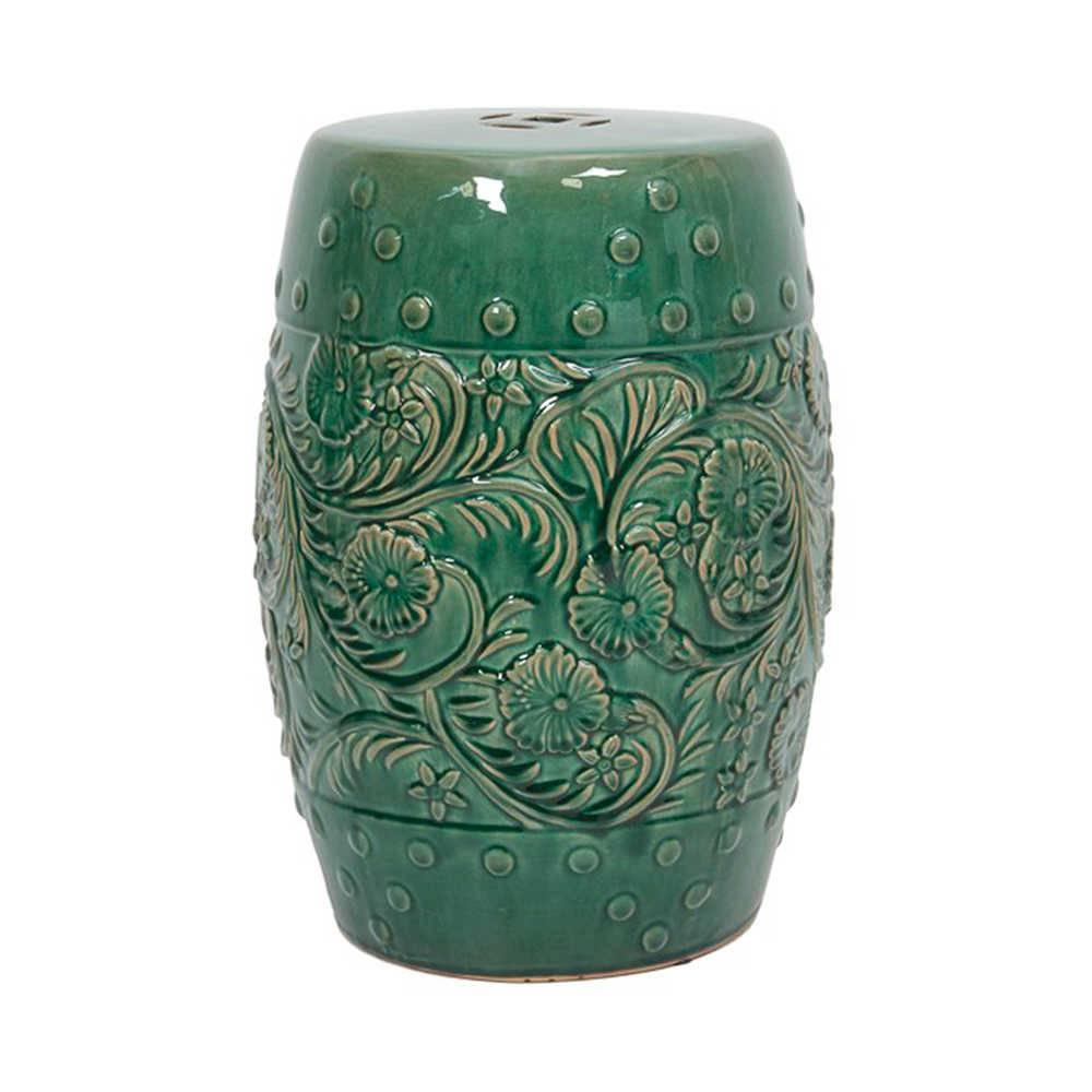 Garden Seat Lume Verde em Porcelana com Relevo - 47x33 cm