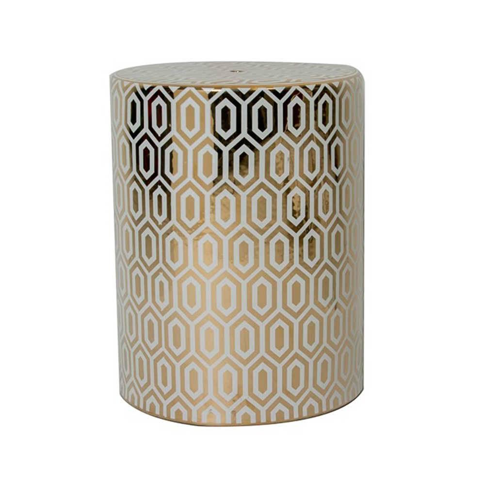 Garden Seat Luxo Dourado e Branco em Porcelana - 43x34 cm
