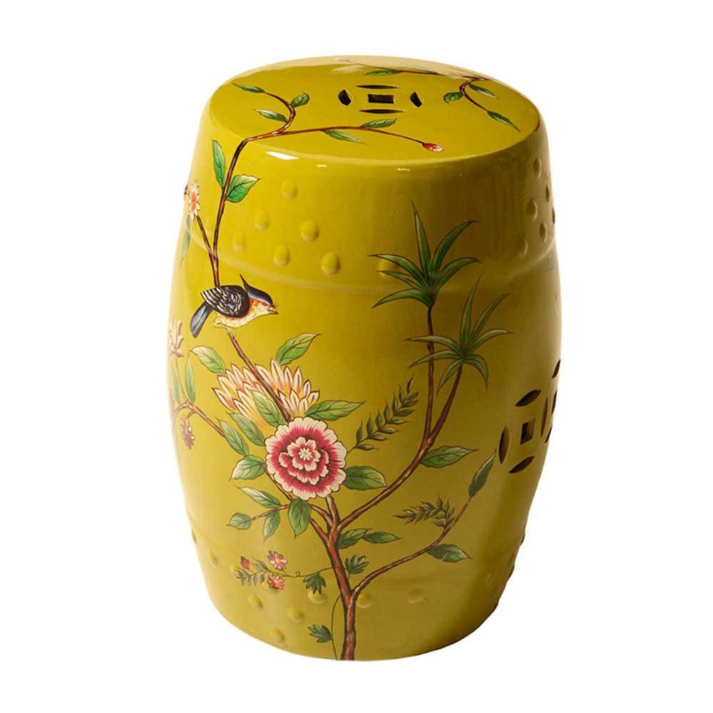 Garden Seat Nature Amarelo em Porcelana - 49x31 cm