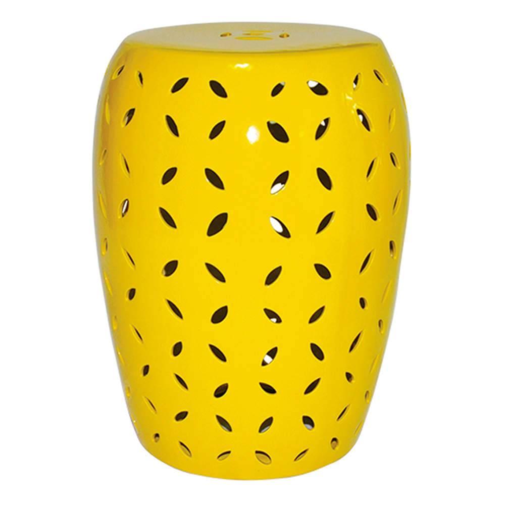 Garden Seat Petals Amarelo em Cerâmica - Urban - 44x35 cm