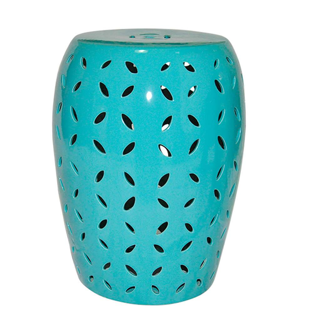 Garden Seat Petals Blue Green em Cerâmica - Urban - 44x35 cm