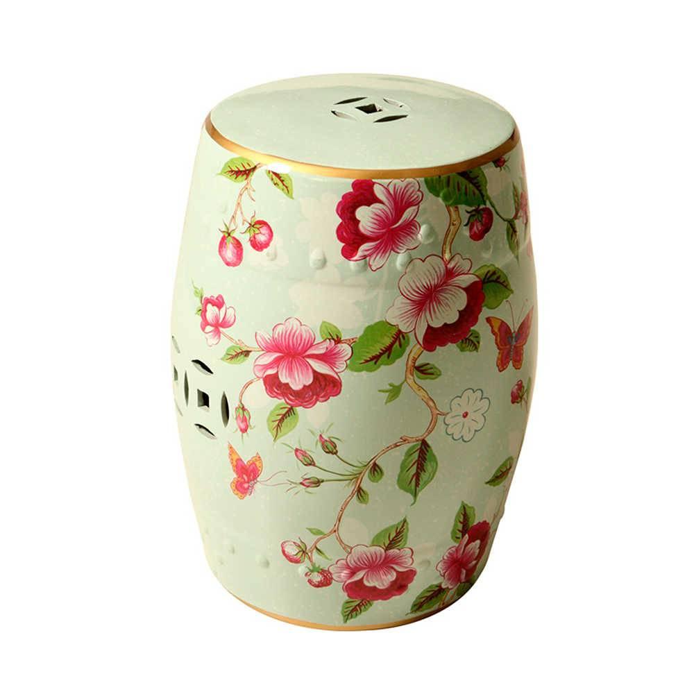 Garden Seat Romantic Floral em Porcelana - 49x31 cm