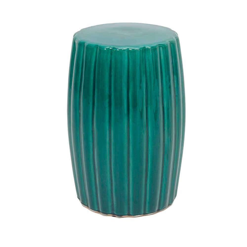 Garden Seat Ronnie Verde em Porcelana - com Relevo - 46x30 cm
