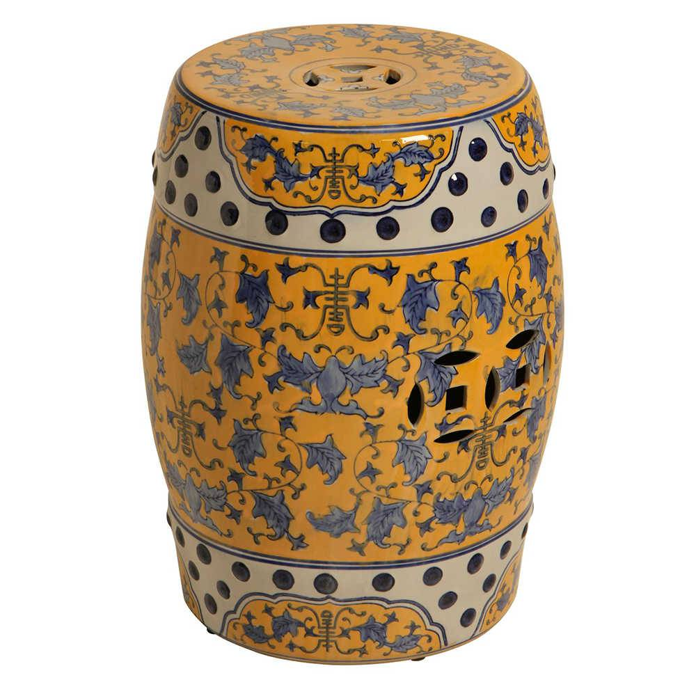 Garden Seat Toule Amarelo e Azul em Porcelana - 52x38 cm