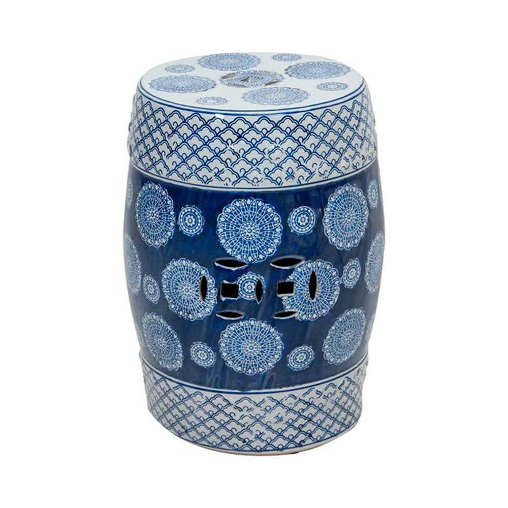 Garden Seat Tradition Azul e Branco em Porcelana - 44x33 cm