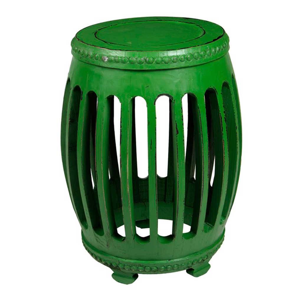 Garden Seat Verde Envelhecido em Madeira com Acabamento Vazado - 54x41 cm