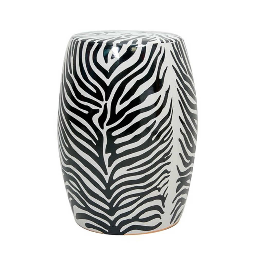 Garden Seat Zebra Print em Porcelana - 46x33 cm