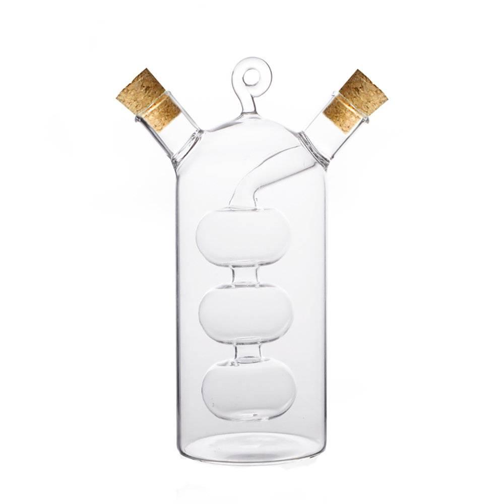 Garrafa Alambique 2 em 1 - para Óleo e Vinagre - Transparente - em Vidro Borossilicato - 60 e 300 ml - Bon Gourmet - 17x12 cm
