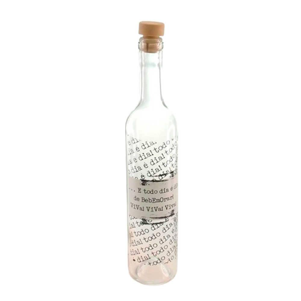 Garrafa Bebemorar - 500 ml - em Vidro Transparente com Tampa Rolha - 32x5 cm