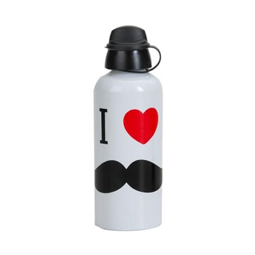 Garrafa Branca Mustache em Alumínio - 21x7 cm