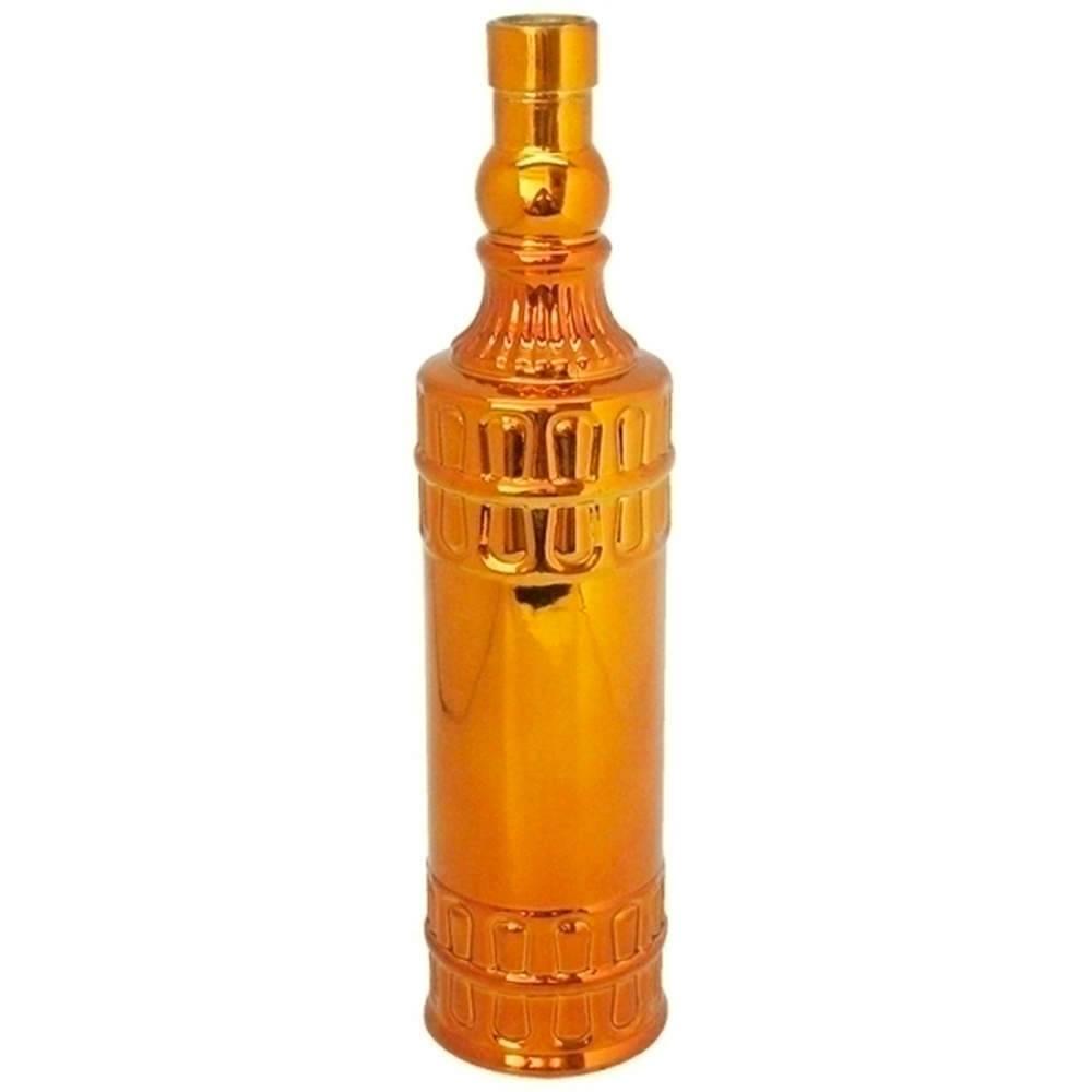 Garrafa Decorativa Indian Bottles Dourada Grande em Vidro - Urban - 31x8 cm