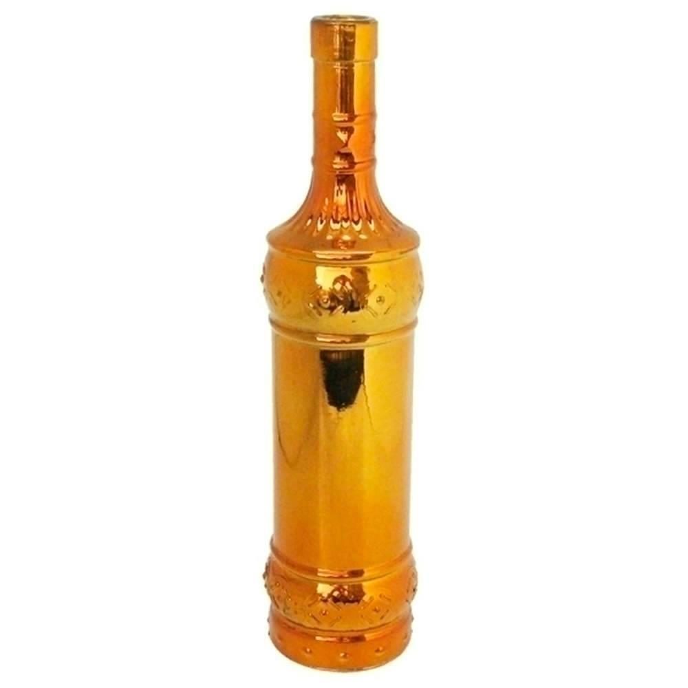 Garrafa Decorativa Indian Bottles Dourada Quadrada em Vidro - Urban - 31x8 cm