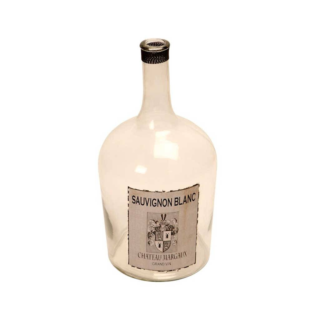 Garrafa Decorativa Sauvignon Blanc em Vidro - 52x25 cm
