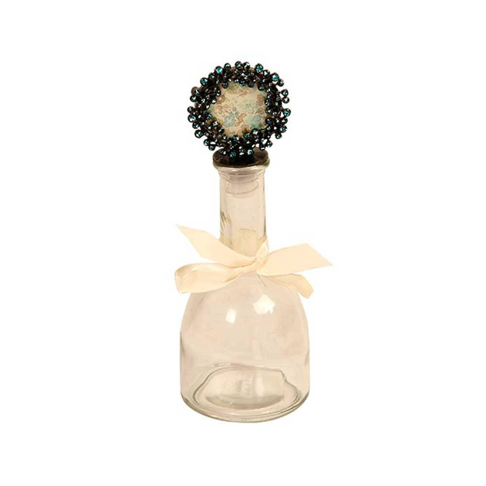 Garrafa Decorativa com Tampa de Flores Pretas em Metal e Vidro - 23x8 cm