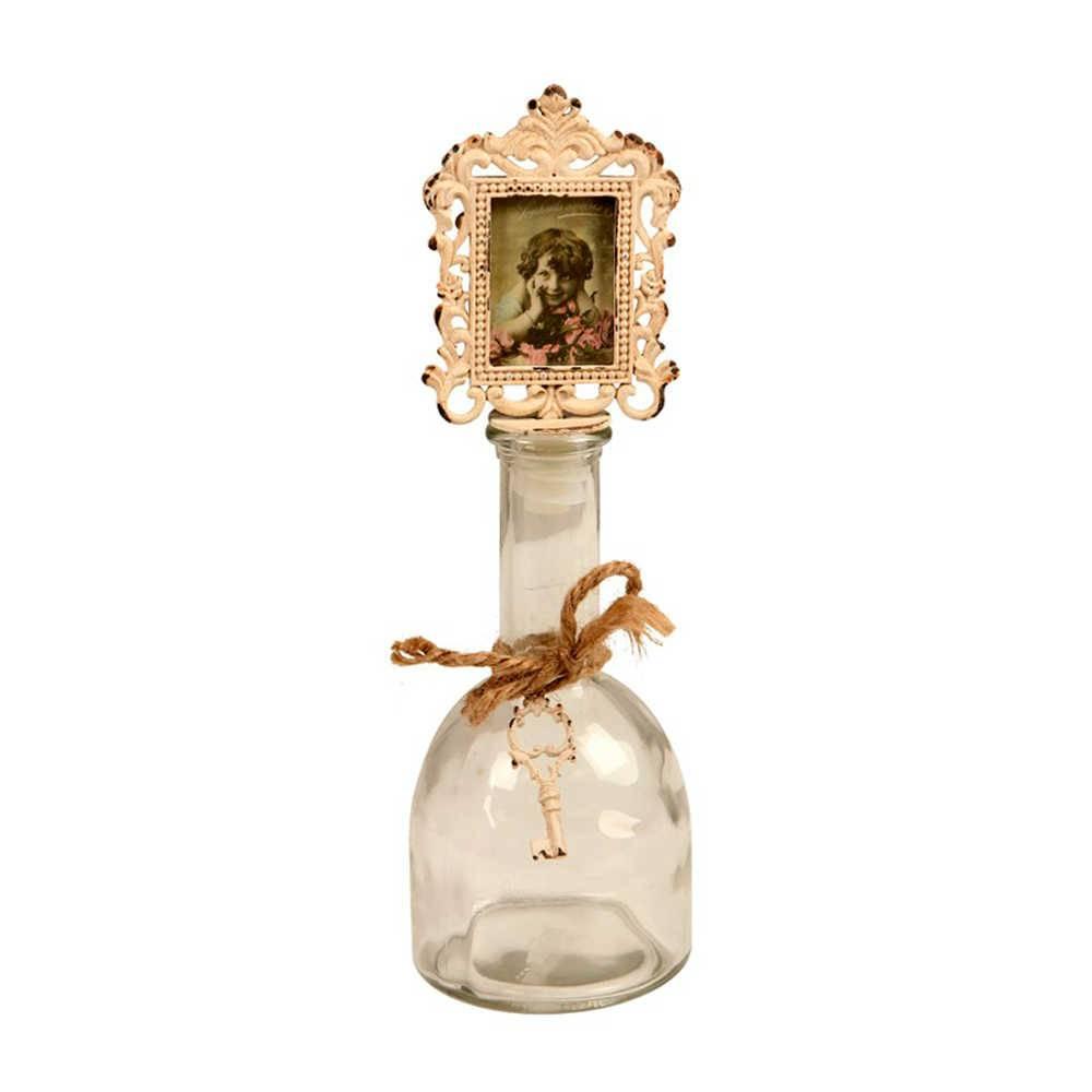 Garrafa Decorativa com Tampa de Porta-Retrato em Vidro e Metal - 26x8 cm