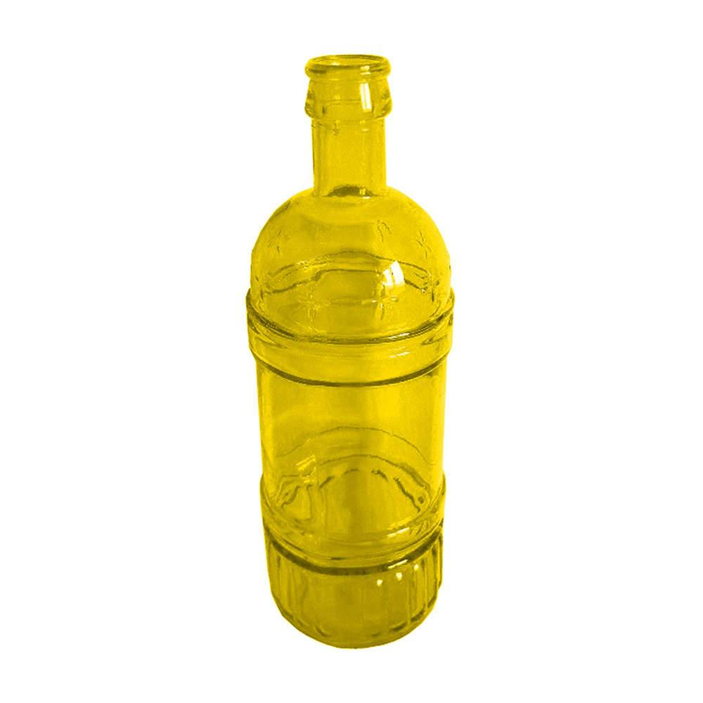 Garrafa Decorativa Wine Amarela em Vidro - Urban - 25x8,5 cm