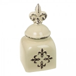 Garrafa Flor de Lis Light Bege em Cerâmica - 33x14x13 cm