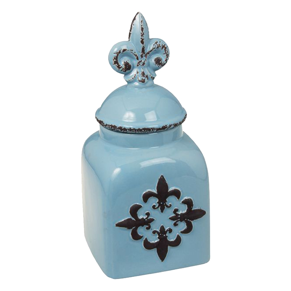 Garrafa Flor de Lis Light Azul em Cerâmica - 33x14x13 cm
