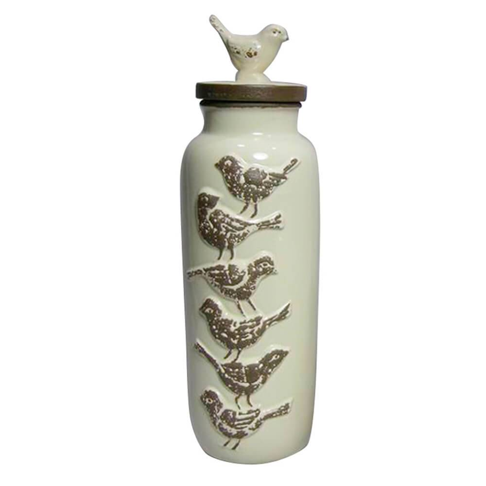 Garrafa Grande Decorativa Le Cle Bird Creme em Cerâmica - Urban - 36,5x11 cm