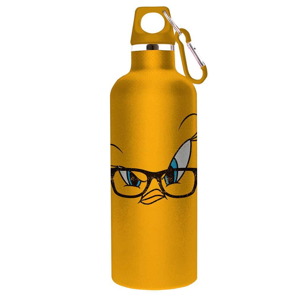 Garrafa Looney Tunes Tweety Big Face Fundo Amarelo 750 ml em Alumínio - 26x7 cm