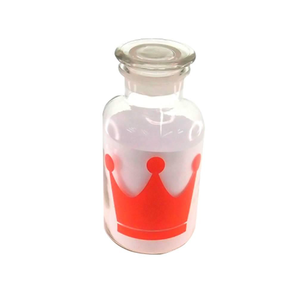 Garrafa Retrô Coroa Vermelha em Vidro - 21x10 cm