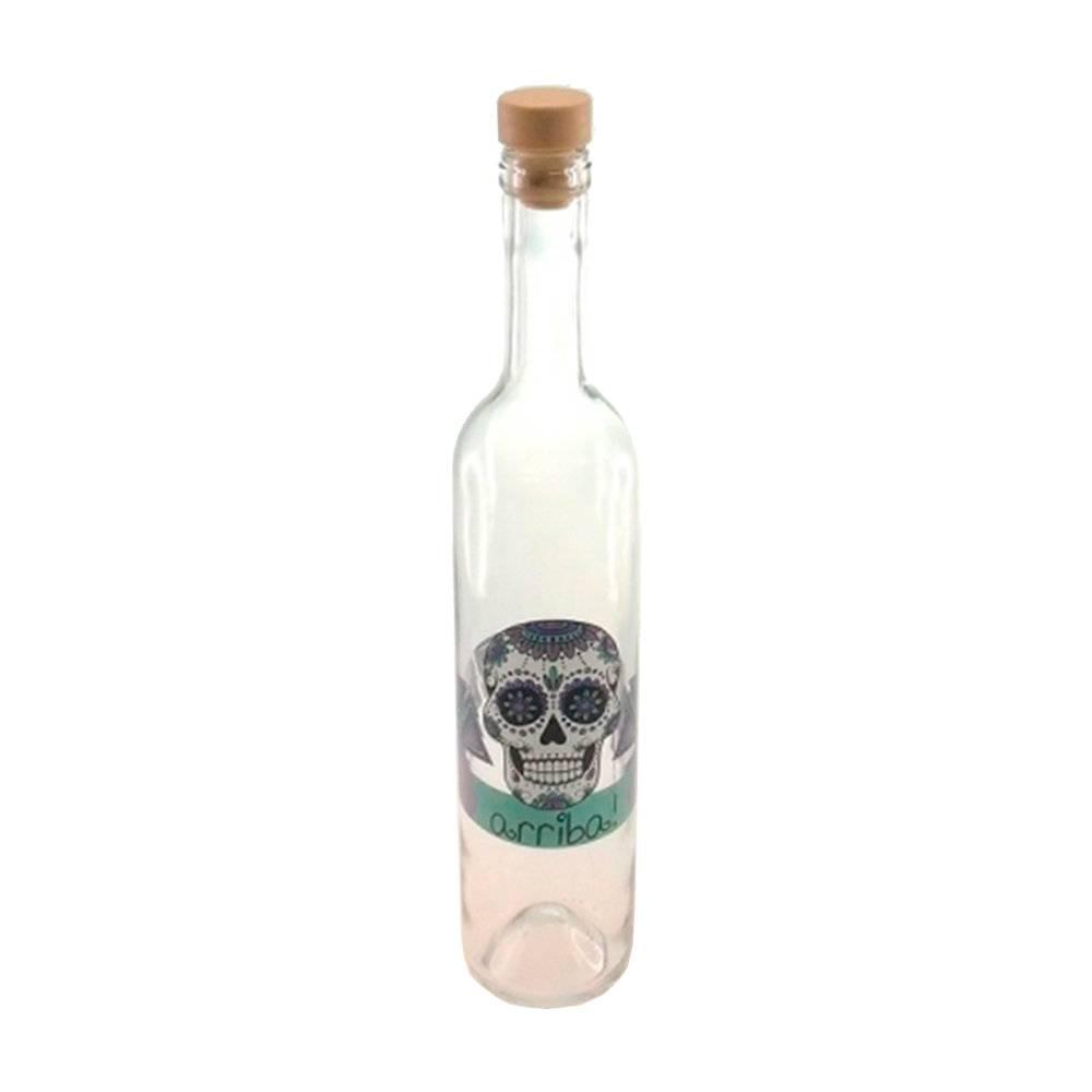 Garrafa Skull Ariba - 500 ml - em Vidro Transparente com Tampa Rolha - 32x5 cm