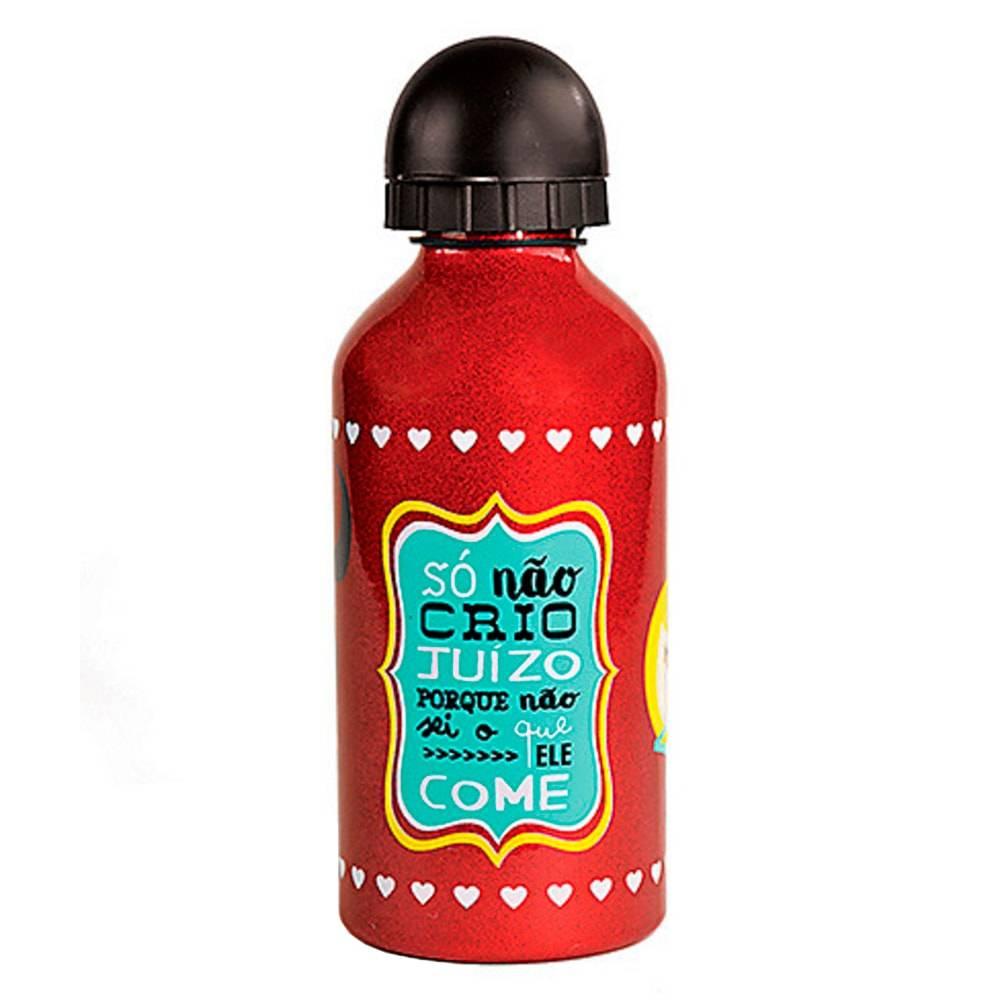 Garrafa Squeeze Humores de Maria - Carpe Diem - Vermelha em Alumínio - 18x7 cm