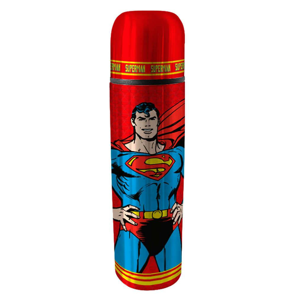 Garrafa Térmica DC Comics Superman Vermelha em Aço Inox - Urban - 25,5x6,8 cm