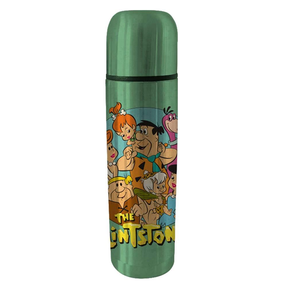 Garrafa Térmica Hanna Barbera Flintstones Family Fundo Verde 500 ml em Aço Inox - Urban - 25,5x6,8 cm