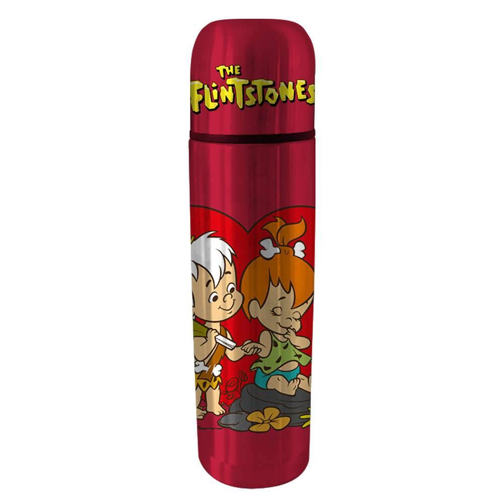 Garrafa Térmica Hanna Barbera Flintstones Peeble And Bam Bam Fundo Vermelho em Aço Inox - Urban - 25,5x6,8 cm