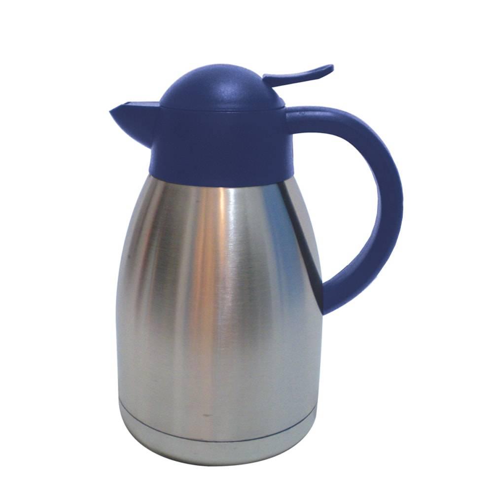 Garrafa Térmica de Parede Dupla Prata/Azul - 1,2 Litros - em Aço Inox - Bon Gourmet