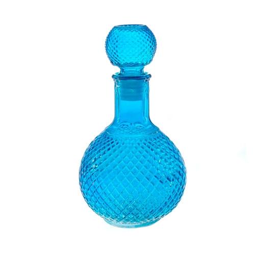 Garrafa de Vidro Azul c/ Tampa Emborrachada - 25x12 cm