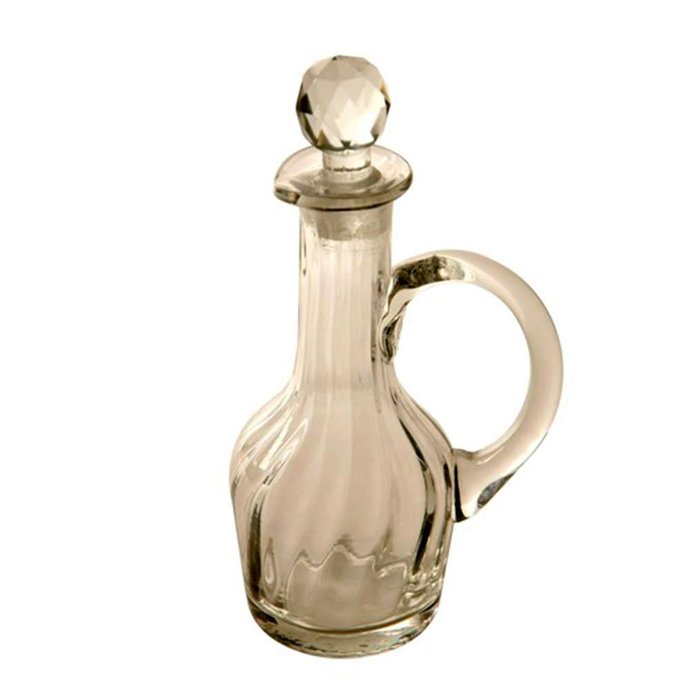 Garrafa para Whisky com Alça Transparente em Vidro - 19x10 cm