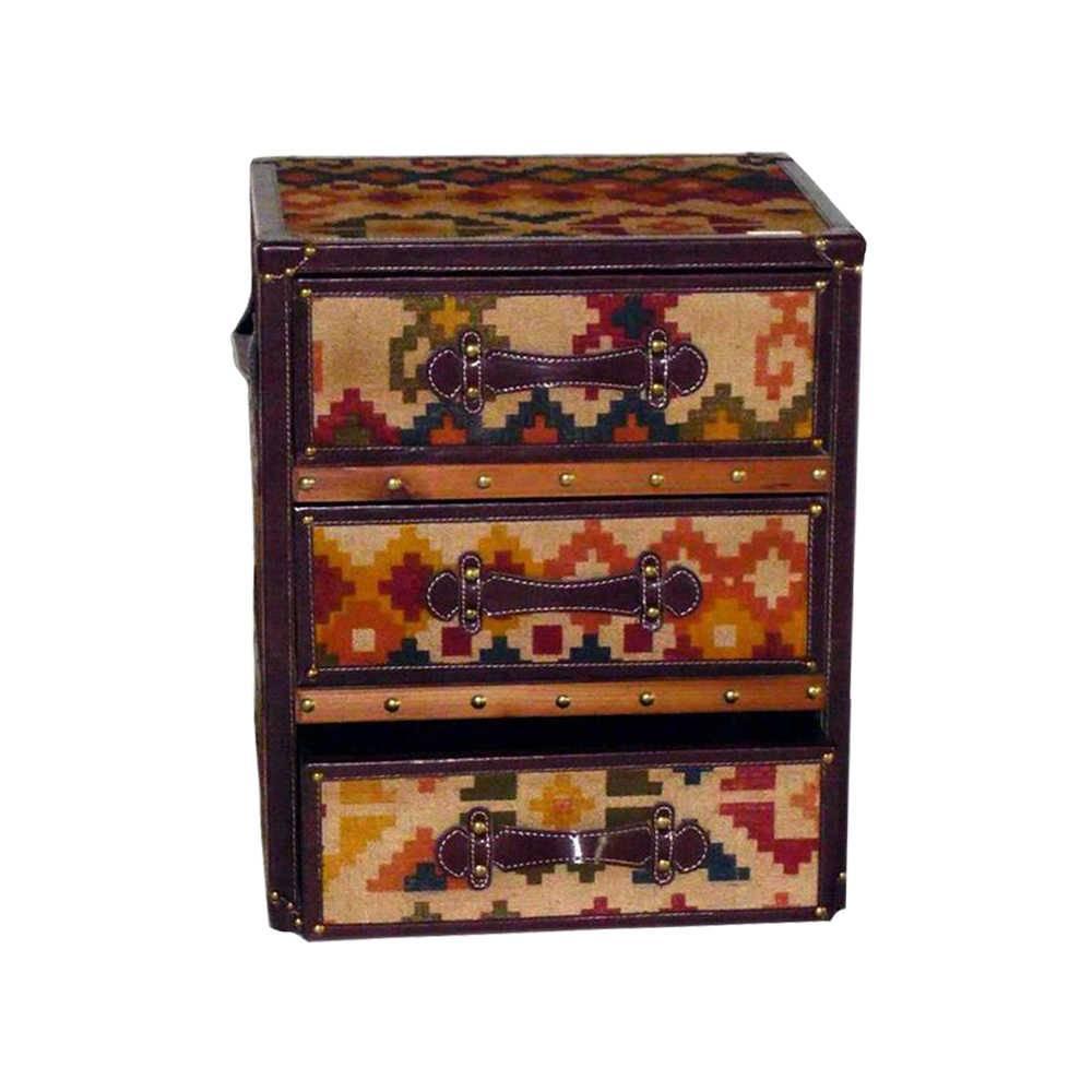 Gaveteiro Estampa Tecido Kilim Colorido - 3 Gavetas - em Madeira - 55x46 cm