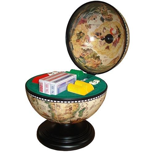Globo Branco Poker Oldway - Aço e Madeira - 38x22 cm