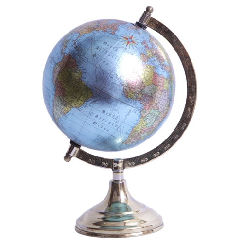 Globo Decorativo Blue World em Metal - 27x26 cm