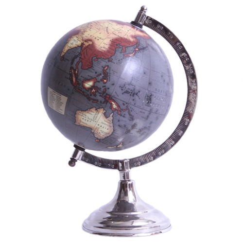Globo Decorativo Gray World em Metal - 27x26 cm