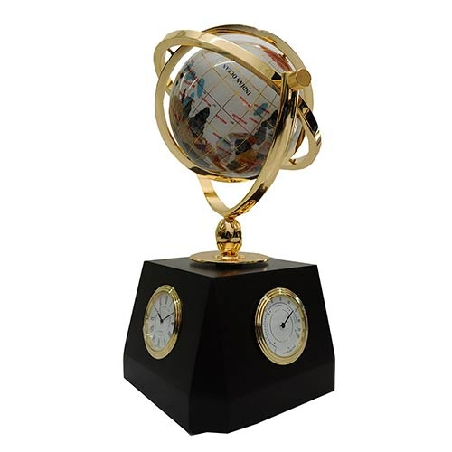 Globo Decorativo com Relógio / Termômetro e Higrômetro Fullway - Pedras Semi Preciosas - 15x33 cm